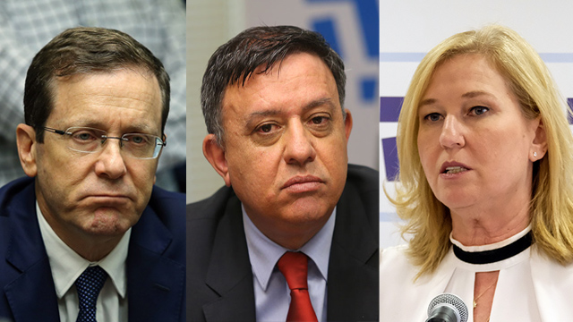 Herzog, Gabbay and Livni (Photos: Yoav Dudkevitch, Alex Kolomoisky)