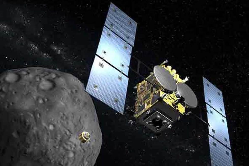 הדמיה של החללית והאסטרואיד (הדמיה: סוכנות החלל היפנית)
