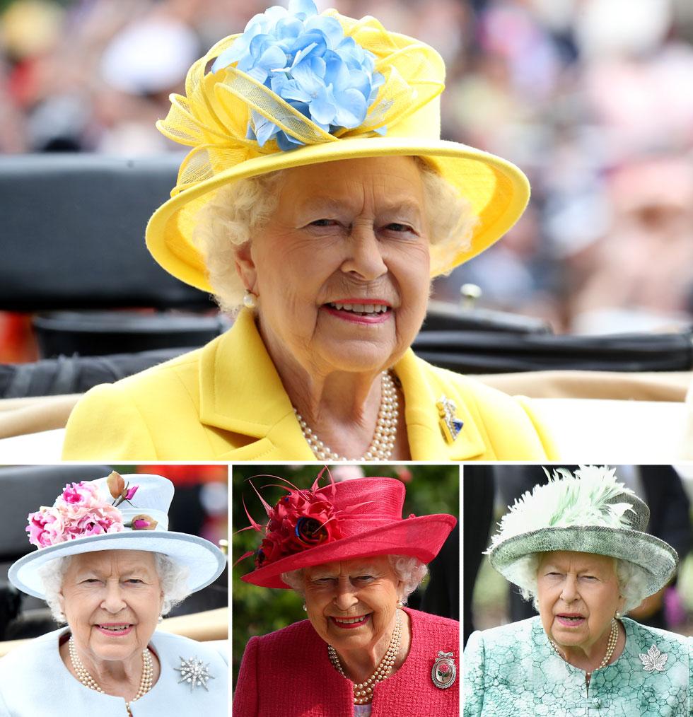 המלכה אליזבת ה-II הציגה ברויאל אסקוט קולקציית כובעי קיץ מרהיבה, כולם בעיצובה של המיליניירית המלכותית רייצ'ל טרבור מורגן (צילום: Jeff Spicer, Charlie Crowhurst/GettyimagesIL)
