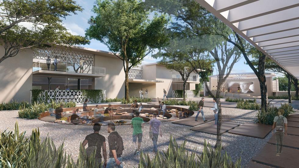 """בכפר הנוער יהיו בית ספר תיכון שש שנתי, פנימיה וחממת מנהיגות לבוגרי י""""ב. בתכנון בית הספר כללו האדריכליות גם כיתות חוץ שיאפשרו לערוך שיעורים באוויר הפתוח  (הדמיה: סטודיו בונזאי)"""