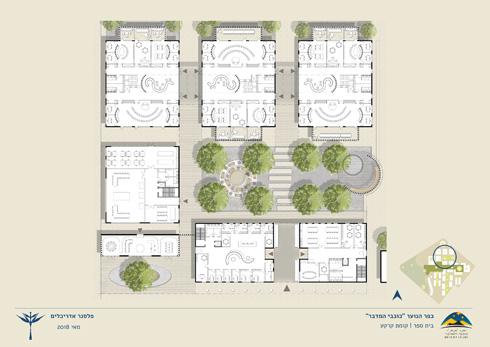 """תוכנית בית הספר, שבו יהיו 24 כיתות לתלמידי ז'-י""""ב (תוכנית: פלסנר אדריכלים)"""