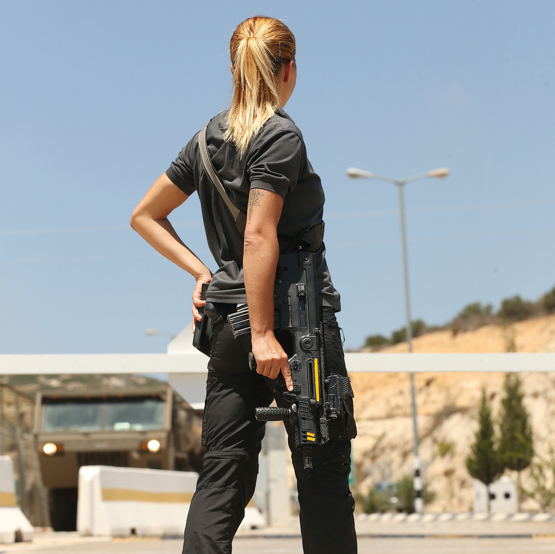 Renata, the first female checkpoint security guard