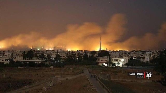 צבא סוריה אזור דרעא לחימה הפצצות אחרי ההשתלטות על בוסרה אל חריר ()