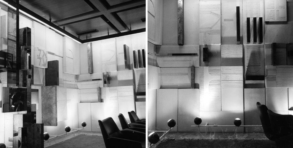 התערוכה מציגה את מכלול העבודה העשיר של בני הזוג: מתכנון אדריכלי ועיצוב פנים (בתמונה טרקלין אל על), דרך עיצוב מוצר וגרפיקה, ועד עיצוב תפאורות ותלבושות (צילום: אוסף גולדרייך דה שליט ארכיון אדריכלות ישראל)