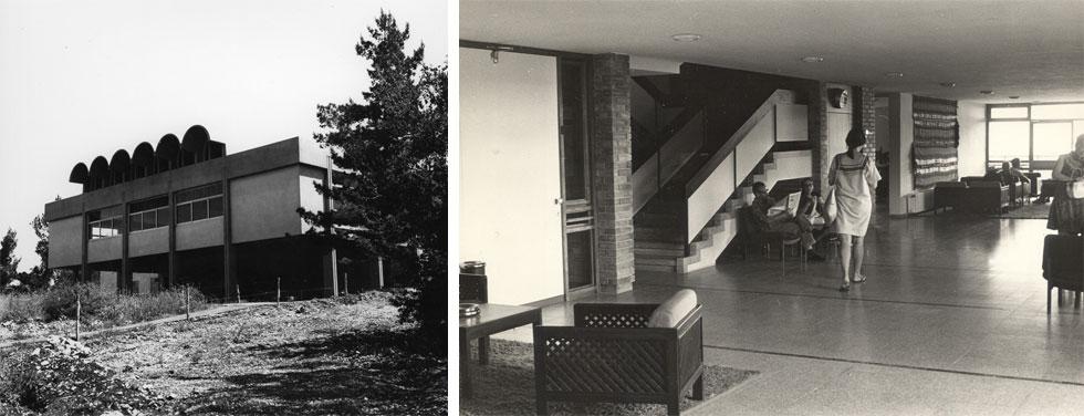 מימין הלובי שעיצבה דה שליט לבית ההבראה יערות הכרמל, 1969. משמאל חדר האוכל של קיבוץ מעלה החמישה, שהשניים תכננו יחד באותה שנה