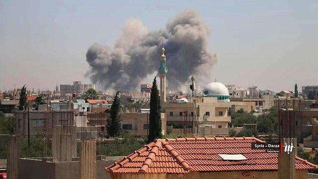 צבא סוריה הפצצות אזור דרעא (צילום: AP)