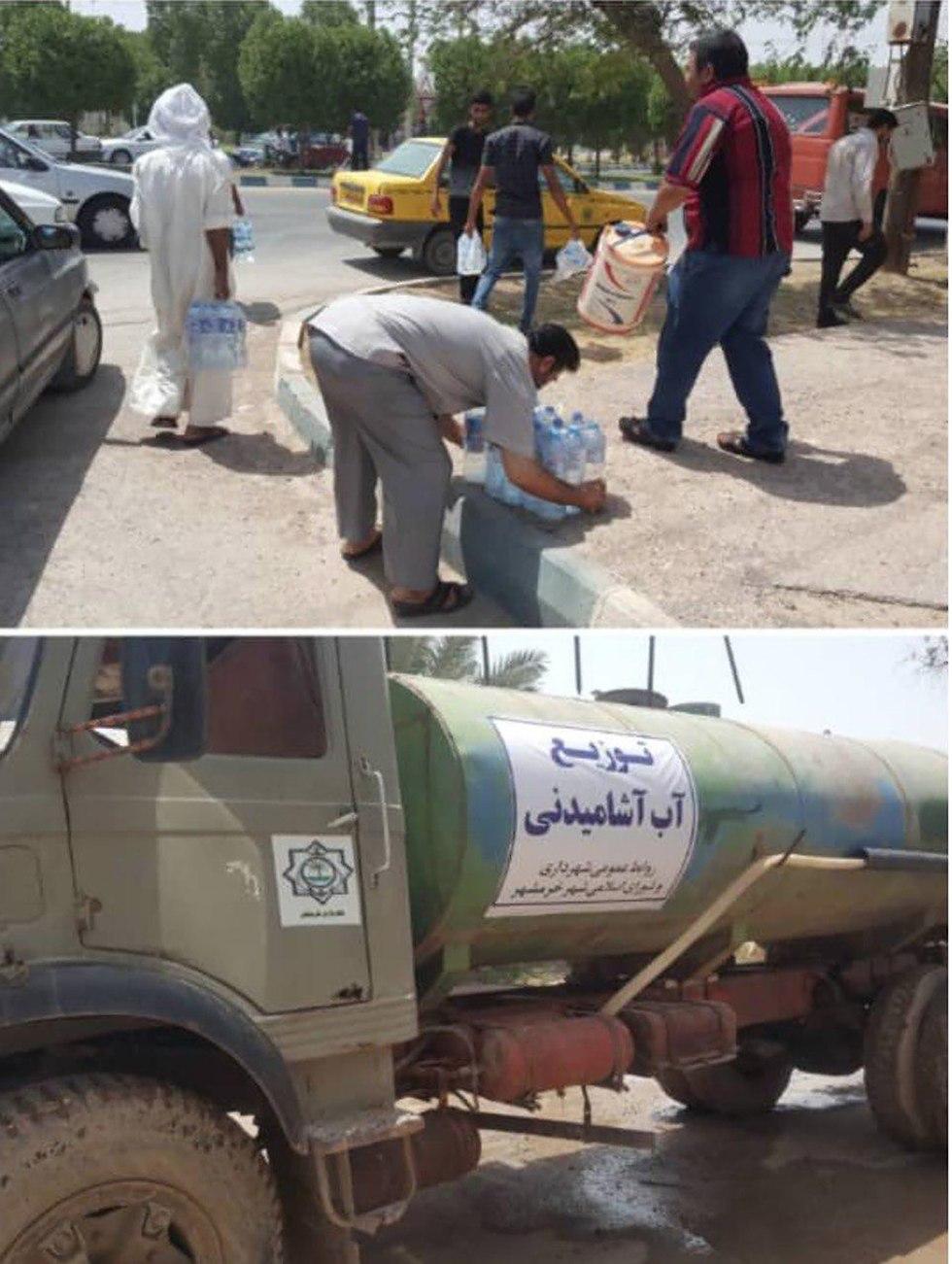 חלוקת מים מחסור ח'וראמשהר מחאה ב איראן מחמרה ()