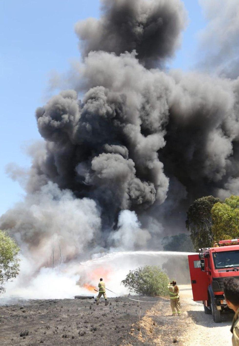 שריפה ביער בארי כתוצאה מבלון תבערה (צילום: איציק לוגסי, יערן קק״ל)