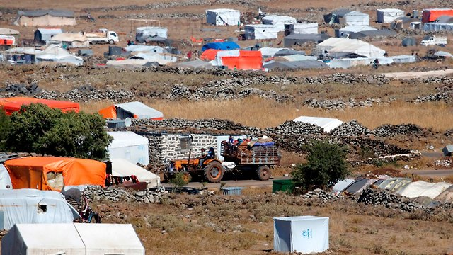 מחנה פליטים סורים ליד גבול ישראל ברמת הגולן (צילום: AFP)