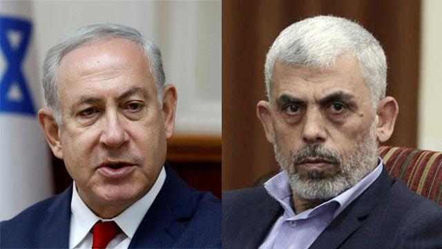 PM Netanyahu and Hamas leader in Gaza Yahya Sinwar (Photo: AP, Reuters)