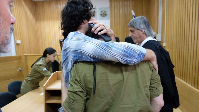 The shooting soldier in court (Photo: Shaul Golan)