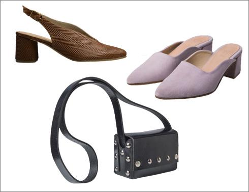 נעלי זמש ורודות, 950 שקל; תיק שחור, 780 שקל; דגם בילי מעור במראה אדרת דג, 950 שקל (צילום: ינאי מנחם)