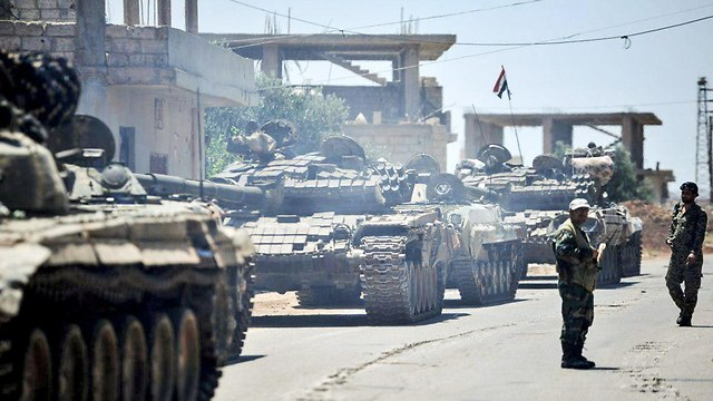 סוריה דרעא פליטים ב גבול ירדן (צילום:AFP)