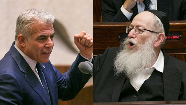 MK Lapid and Deputy Minister Litzman (Photo: Ohad Zwigenberg)