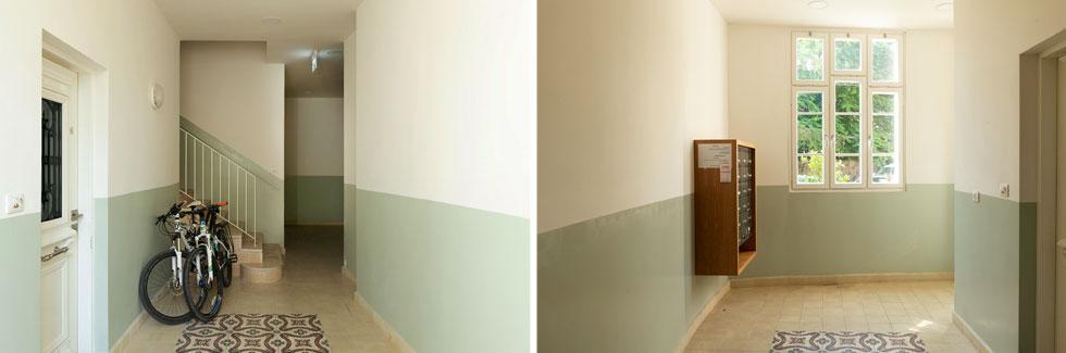 במבואת הכניסה אפשר לראות מרצפות מצוירות מהבית המקורי שעמד כאן, גווני קירות שמשחזרים את הסגנון ההוא ועוד (צילום: גדעון לוין)