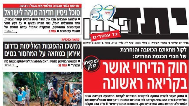 Yated Ne'eman headline. 'Painful and firm protest from the Haredi MKs'