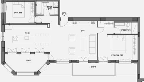 תוכנית הדירה לפני השיפוץ (תוכנית: איריס אבנרי דביר)