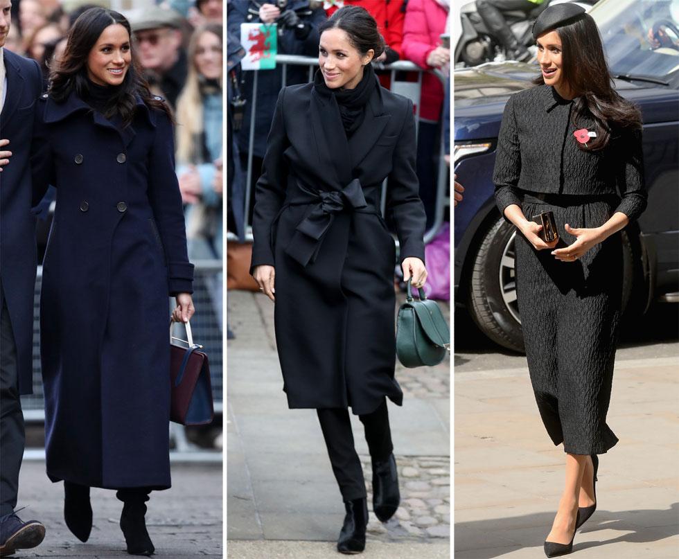 משפחת המלוכה נוהגת ללבוש שחור רק לאירועי אבלות קודרים, אבל למרקל היה קשה לוותר על העוצמה השיקית של טוטאל לוק שחור (צילום: GettyimagesIL)