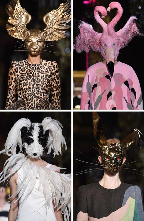מה מסתתר מאחורי המסכה? חתול, מפלצת או דוגמנית יפה? בית האופנה סקיאפרלי ממשיך את כתב ידה הסוריאליסטי של המייסדת אלזה סקיאפרלי, עם דוגמניות במסכות של חיות ויצורי כלאיים, שגנבו את הפוקוס לבגדים היפים בעיצובו של המנהל האמנותי הצעיר ברטרו גויו  (צילום: Pascal Le Segretain/GettyimagesIL)