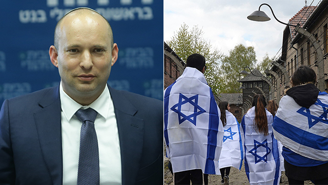 Bennett; and Israeli teens in Poland (Photos: Alex Kolomoisky, AP)