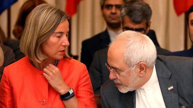 פדריקה מוגריני מוחמד ג'וואד זריף שיחות הסכם גרעין עם איראן  (צילום: AP)
