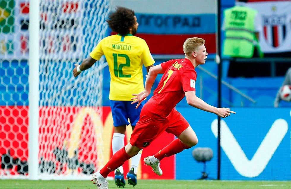 קווין דה בריינה נבחרת בלגיה מרסלו נבחרת ברזיל (צילום: AFP)