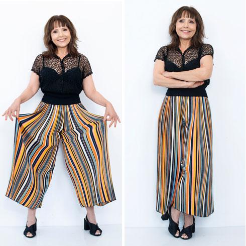 מכנסי חצאית, 130 שקל, ברשקה. סנדלים, 160 שקל, H&M  (צילום: עדו לביא, סטיילינג: תמי ארד־ברקאי)