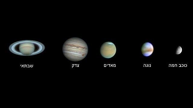כוכב חמה, נגה, מאדים, צדק ושבתאי (צילום: עופר גבזו, מצפה הכוכבים גבעתיים)