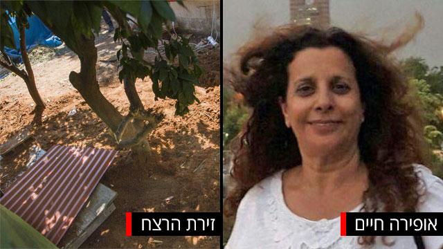 זירת הרצח בה נמצאה גופתה של אופירה חיים בתל מונד (צילום: עידו ארז)