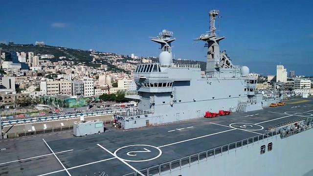 French Helicopter Carrier Dixmude in Haifa Port (Credit: GeoDrones)