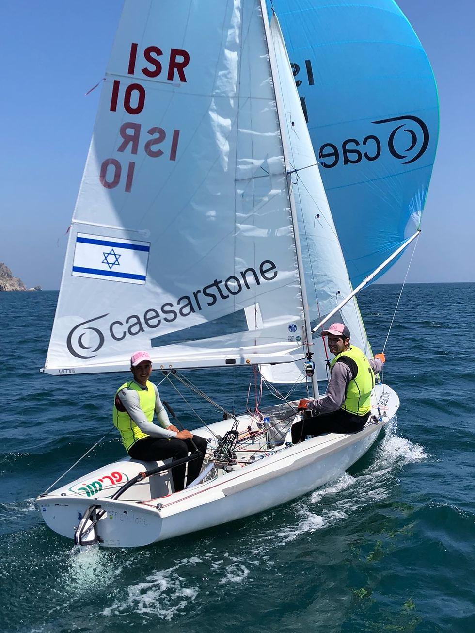 מאור עבו ויואב רוז באליפות אירופה עד גיל 23 בפורטוגל (צילום: איגוד השייט)