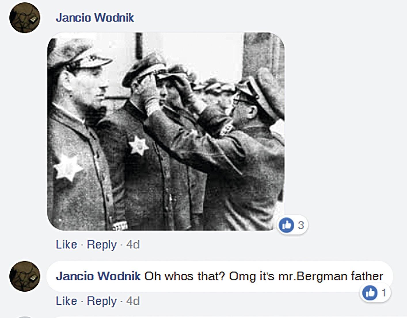"""""""או, מי זה? או מיי גוד, זה אבא של רונן ברגמן"""" - פוסט שטנה שבו נראה קאפו יהודי - כביכול, אביו של רונן ברגמן - מקבל דרגה מהנאצים"""