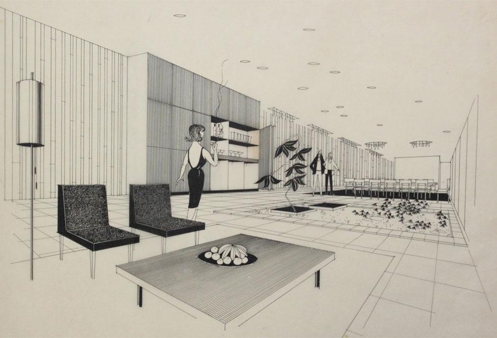 פרספקטיבה של הפנטהאוז של צ'ארלס קלור ברחובות, שלעיצובו הייתה שותפה דה שליט ב-1964 (פרספקטיבה אוסף גולדרייך–דה-שליט, ארכיון אדריכלות ישראל)