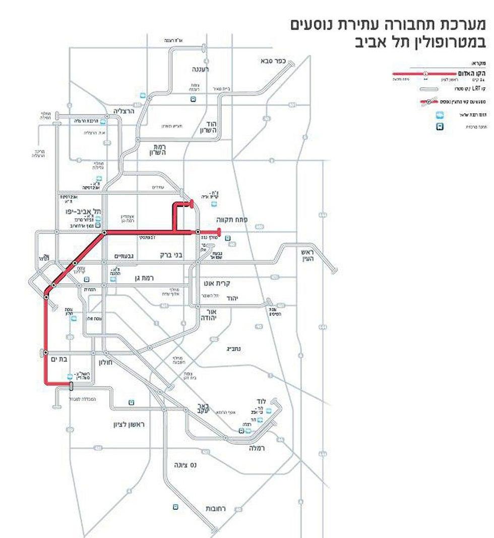 הקו האדום של הרכבת הקלה בתל אביב (צילום: נתיבי תחבורה עירוניים בע