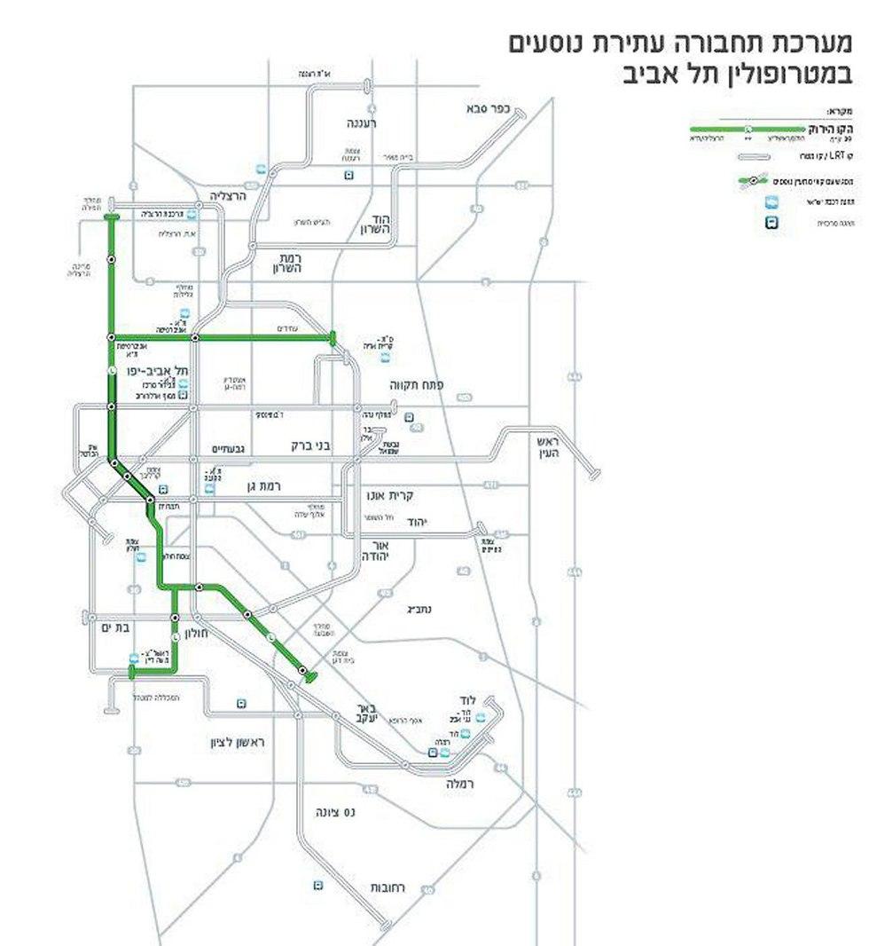 הקו הירוק של הרכבת הקלה בתל אביב (צילום: נתיבי תחבורה עירוניים בע