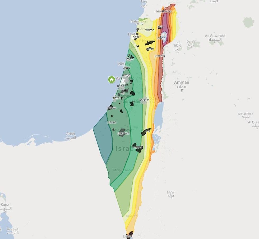 מפת מוקדי רעידות אדמה בישראל (מקור: חברת CitySquare)