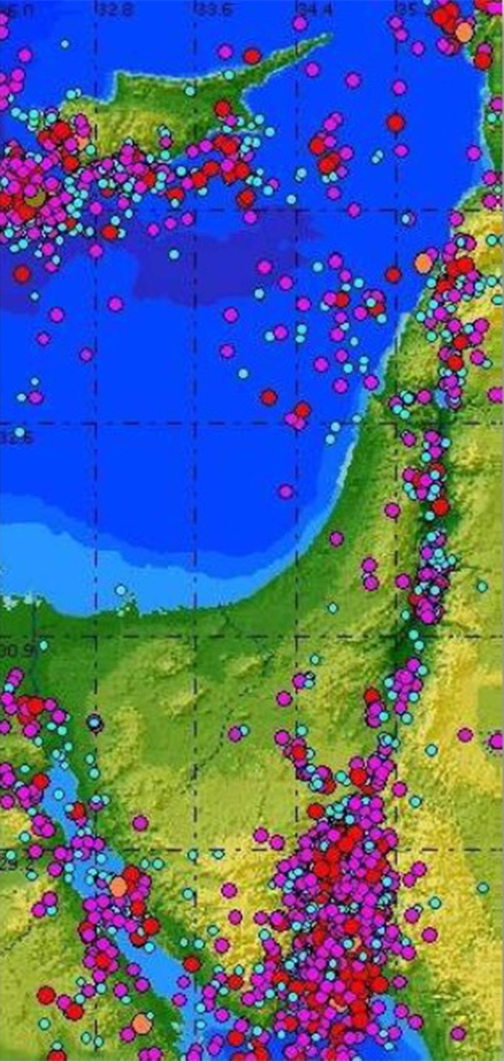 מפת מוקדי סיכון רעידות אדמה (מקור: דוח ועדת ההיגוי לרעידות אדמה בישראל )