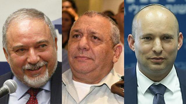 Lieberman, Eisenkot, Bennett (Photo: Ohad Zwigenberg, Yair Sagi)