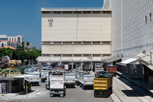 המשאיות ממתינות לתורן, כדי לשנע מכאן את משלוחי הגרעינים (צילום: גדעון לוין)