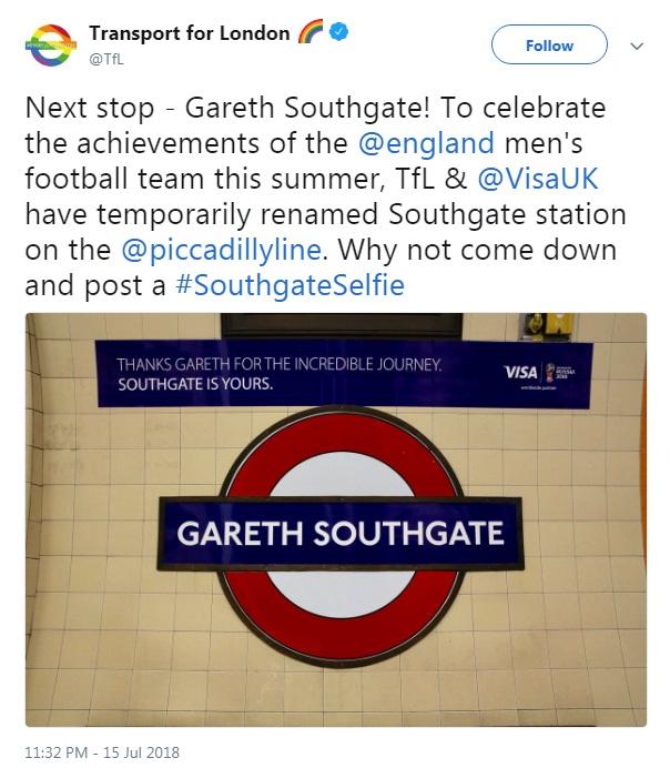 שלט המחווה בתחנת סאות'גייט (צילום מסך מתוך טוויטר)