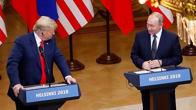 ולדימיר פוטין ודונלד טראמפ מסיבת עיתונאים (צילום: רויטרס)