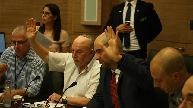 MKs Ohana and Slomiansky vote on bill (Photo: Ohad Zwigenberg)
