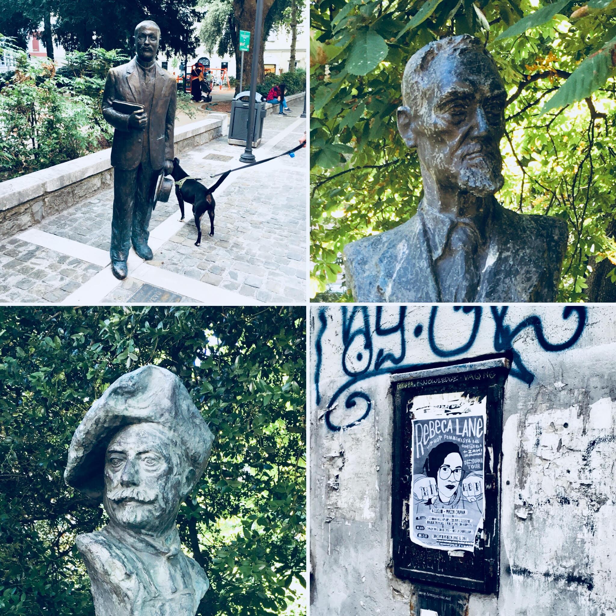 פסל עירוני של הסופר היהודי Italo Svevo ופסלים נוספים מפארק טומסיני (צילום: הילי ברוק בלום)