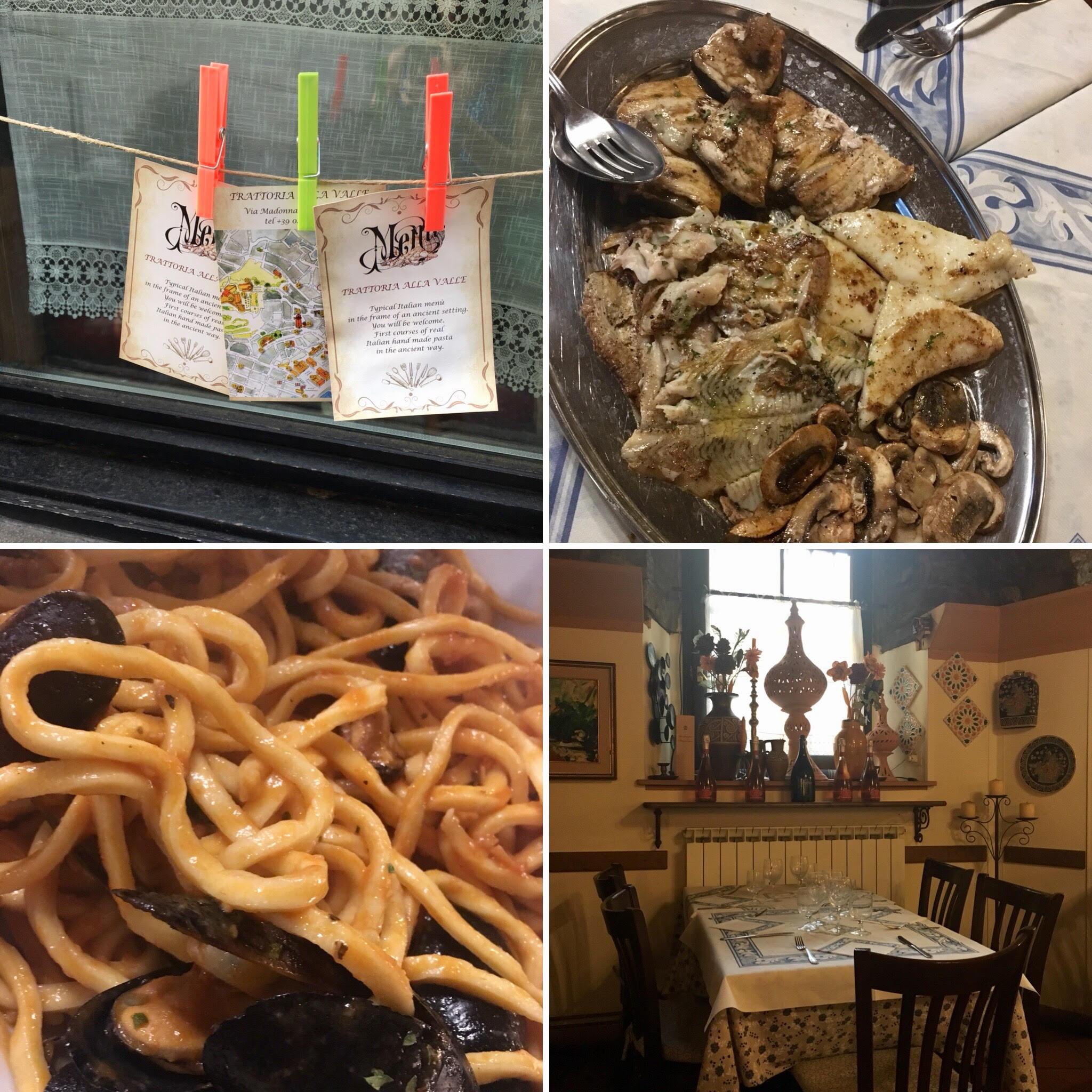 פסטה ודגים במסעדת Trattoria alla valle (צילום: הילי ברוק בלום)