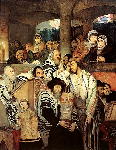 'Jews Pray in the Synagogue on Yom Kippur' by Maurycy Gottlieb