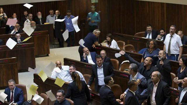 Arab MKs protest Nationality Law in the Knesset (Photo: Amit Shabi)