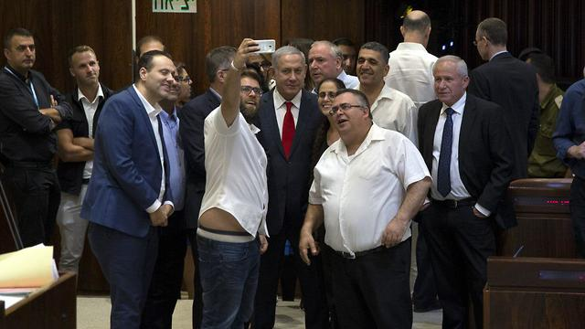 Likud ministers and MKs celebrate Nationality Law passage with a selfie (Photo: Amit Shabi)