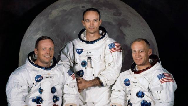 La troisième équipe à atteindre la lune, la première à atterrir.  Apollo 11. Droite: Aldrin, Collins, Armstrong (Photo: Nas