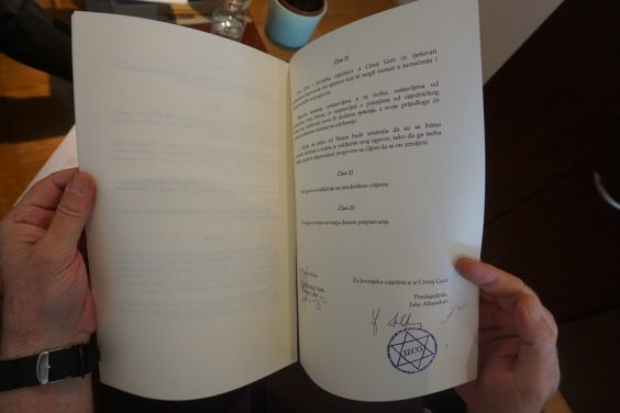 Government contract signed by Jasa Alfandari recognizing Judaism as an official religion in Montenegro. (Photo: Felice Friedson/The Media Line)
