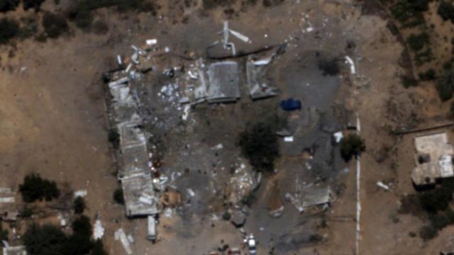 תצלום אוויר לאחר השמדת מפקדת גדוד חמאס בחאן יונס (צילום: דובר צה